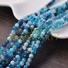 100pcs 4mm Round Natural Stone Loose Gemstone Beads Lake Blue S Agate