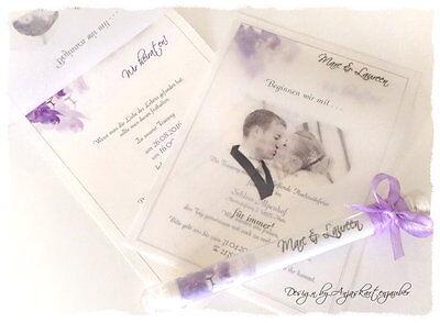 20 x Wunderschöne Einladung Zur Hochzeit  im Glas mit Foto VINTAGE lila Orchidee