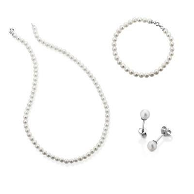 Parure Perle FuJiKo Collana + bracciale + orecchini Argento 925 MADE IN ITALY
