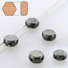 Hematite 30pc 6mm 2-Hole Czech Glass Honeycomb Beads