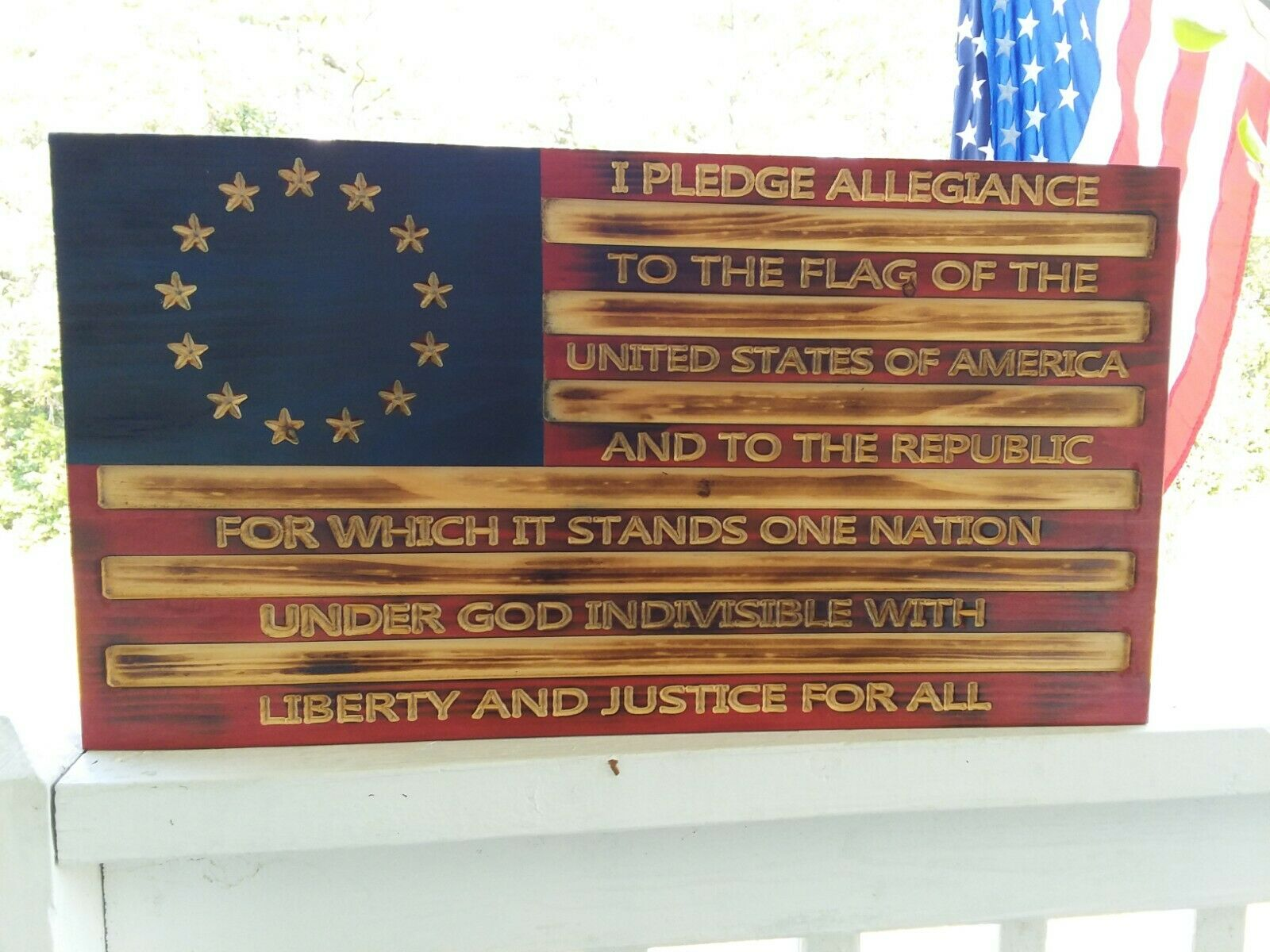 Rustic Wood Distressed Engraved American Flag 21  x 11.25  Pledge of Allegiance
