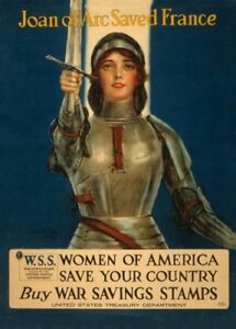 Popular Brand Joan Of Arc Saved France Vintage French Ww1 Propaganda Poster Art