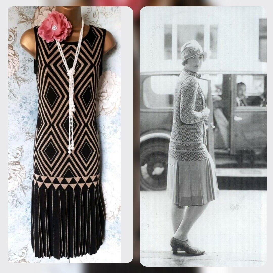 Ted baker Belinda knit schwarz chevron Gold vtg 20s deco flapper gatsby  dress 8