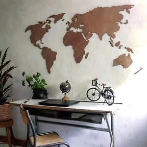 3d Weltkarte Aus Holz Mahagoni Deko Idee Wandbild Naturbelassen
