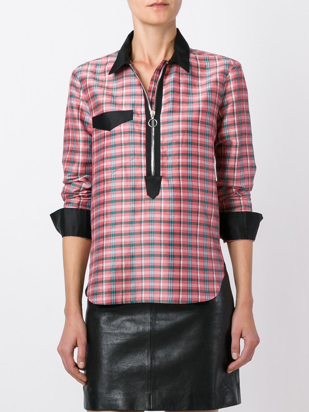 impresionante  Isabel Marant Señoras Camisa a Cuadros Cremallera  cuello de seda de12 US8 EU40  Para tu estilo de juego a los precios más baratos.