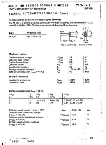 AF106B 10mA 18V PNP Germanium Transistor 4-pin TO-72 60mW 260MHz Fuzz Multi Qty