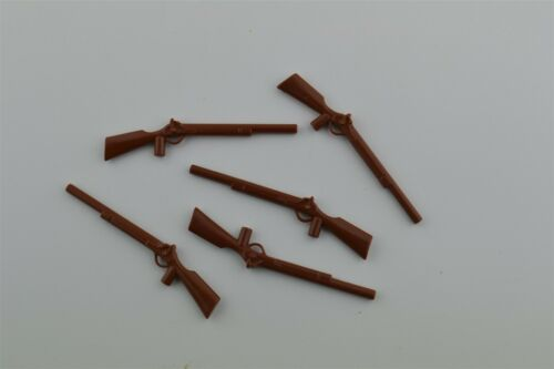 Playmobil Geobra Vintage Replacement Part Rifle Gun Brown Cowboy Long Weapon 5pc