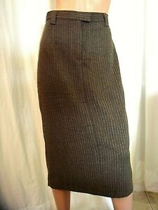00edf59004f SHAPE FX SIZE 12 T BROWN PINSTRIPE LINED POCKET MIDI PENCIL SKIRT ...