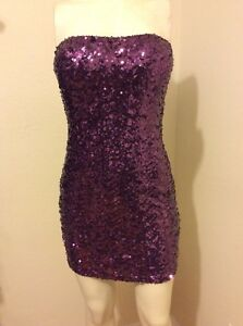 FOREVER-21-FULLY-SEQUINED-STRAPLESS-BODYCON-DRESS-SIZE-M-JUNIORS