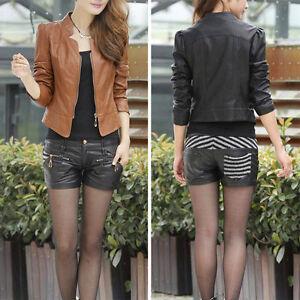 Women-Slim-Zipper-Soft-PU-Leather-Jacket-Short-Coat