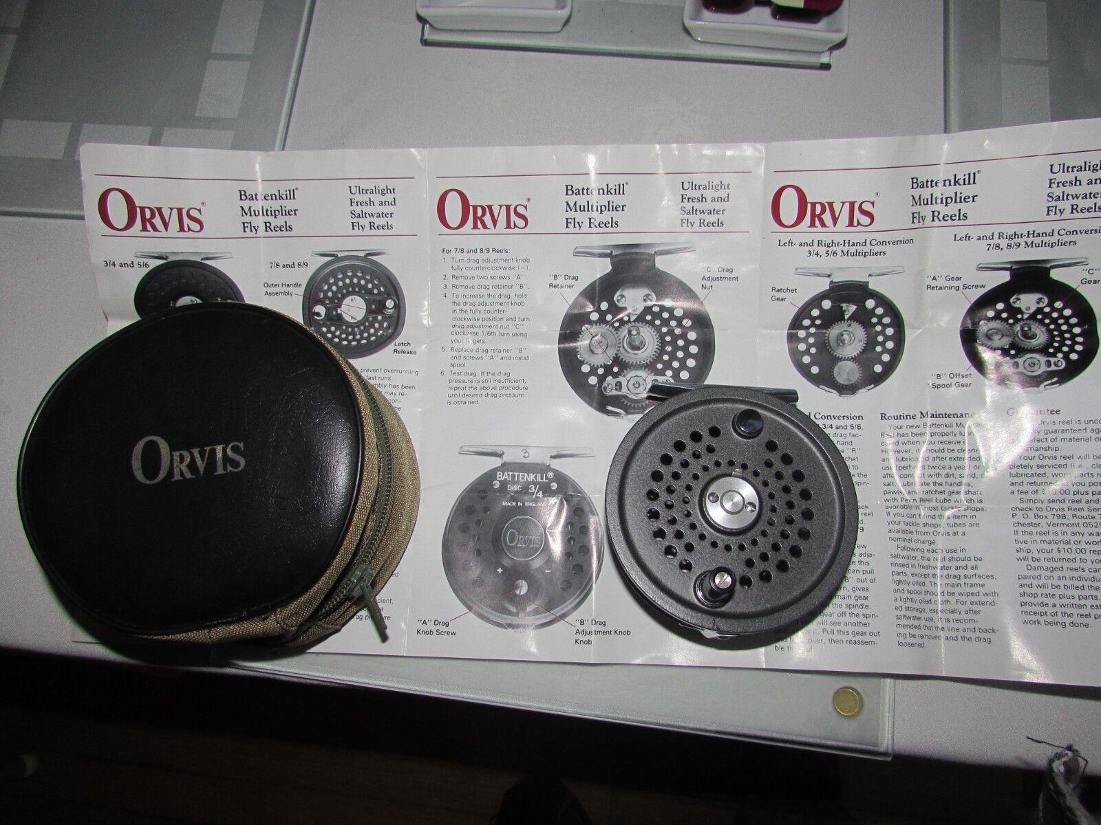 Stunning unused  orvis  battenkill disc 10 11 salmon fly fishing reel & case ,.   save 50%-75%off