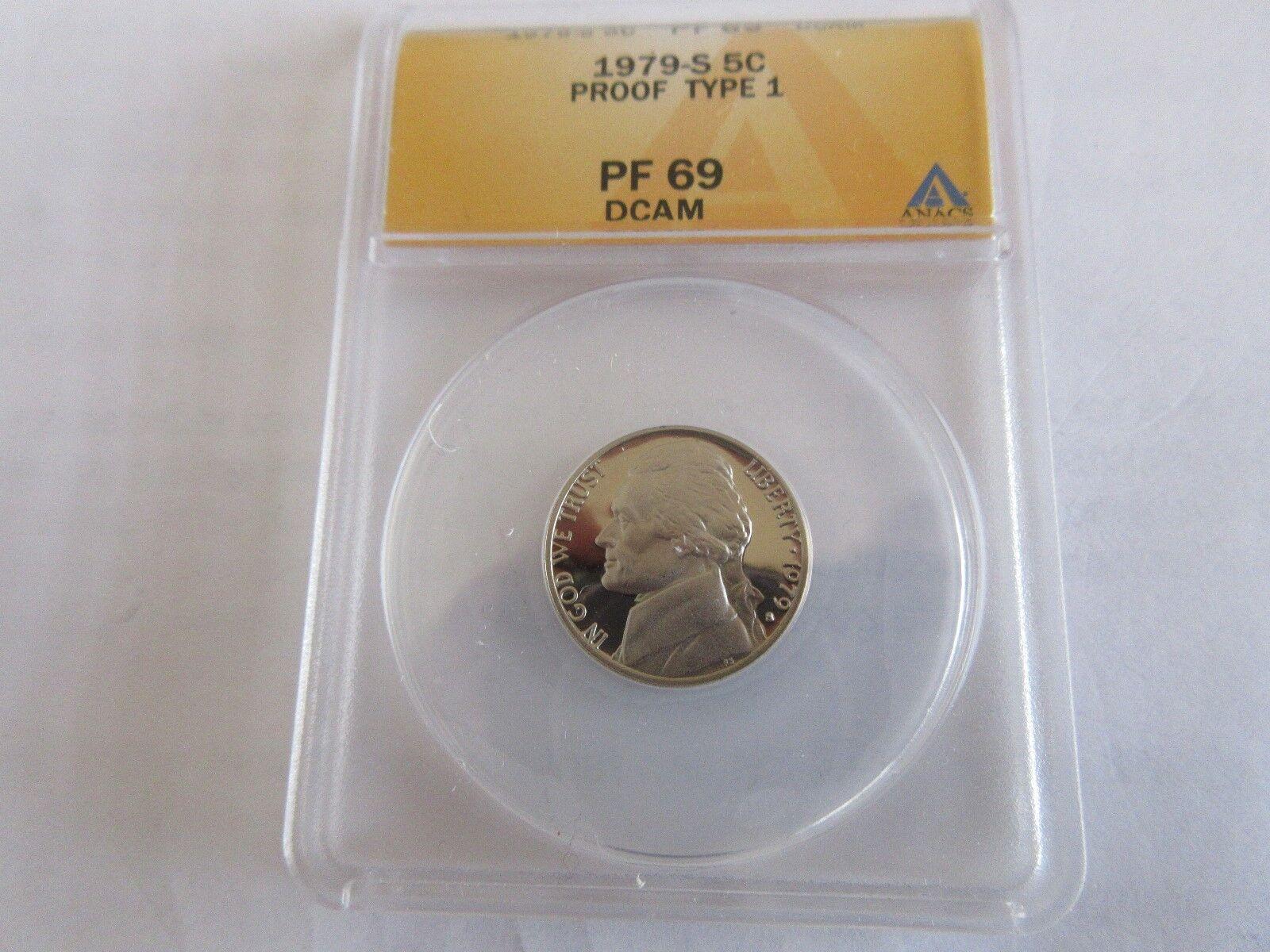1979-S , Jefferson 5 Cents , Proof Type 1 , DCAM , ANAC