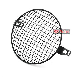 Motorcycle 7 Headlight Mesh Grill Side Mount Universal Cover Mask for Cafe Racer plating