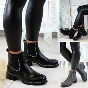 New-Womens-Chelsea-Ankle-Boots-Studs-Chunky-Low-Heel-High-Top-Ladies-Shoes-Sizes