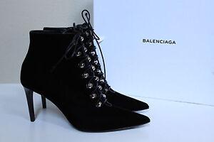 New-sz-8-5-39-Balenciaga-Velour-Black-Classic-Stud-Pointed-Toe-Ankle-Boot-Shoe