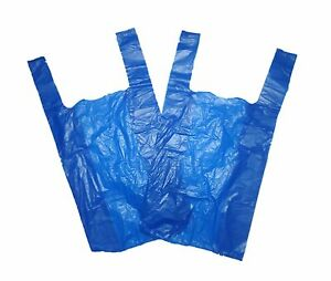 "100 x Plastic Carrier Bags Blue 11x17x21"" 16Mu For Supermarkets Stalls Stores 3140177150669"