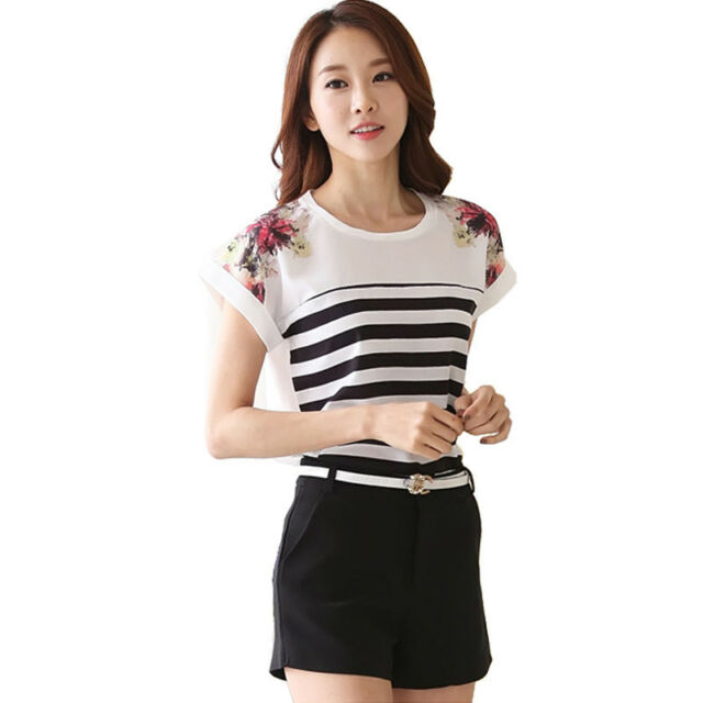 Summer WOMEN Slim Tops Striped Floral Blouse Short Sleeve shirts CASUAL Blouse