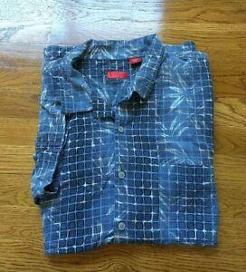 IZOD-Hawaiian-Washable-Silk-Rayon-Shirt-Button-Up-Short-Sleeve-XXL-Men-Blue-EUC