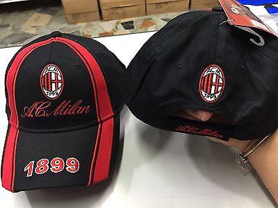 1 Cappello Con Visiera Ac Milan Ufficiale Cap Official Milan Cotone Rossonero Squisita (In) Esecuzione