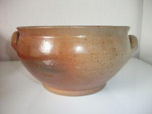 Ancien-Saladier-Bol-a-soupe-a-l-039-oreilles-en-gres-vernisse-Poterie-Artisanat