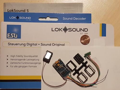 ESU 58410 H0 LokSound5 Decoder DCC//MOT//mfx Kabel+8pol.St.+Lautspr.+Sound