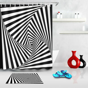 Psychedelic Black And White Swirl Fabric Shower Curtain Set 71