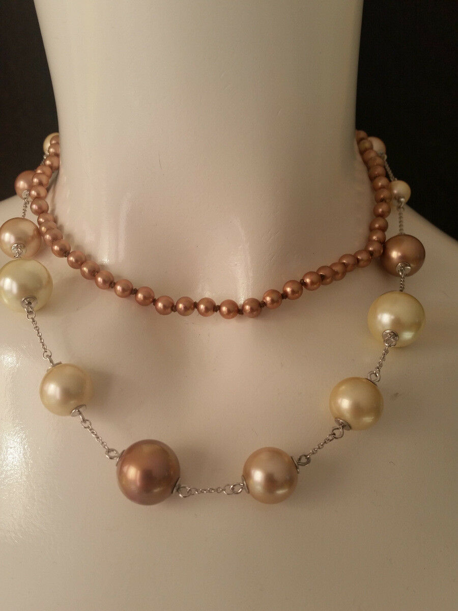 Misaki Collier Perles 2 Rangées de color silver Terramulti Neuf