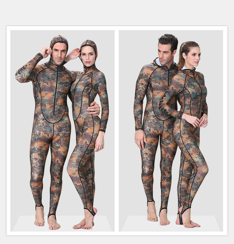 Camouflage Suit Siamese Wetsuit Anti Acid with Sunscreen Zipper Hooded Swimsuit