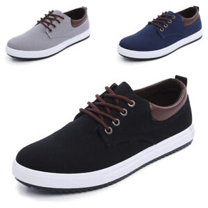 Mens-Breathable-Canvas-Shoes-Low-Top-Flat-Sneakers-Casual-Lace-Up-Walking-Shoes
