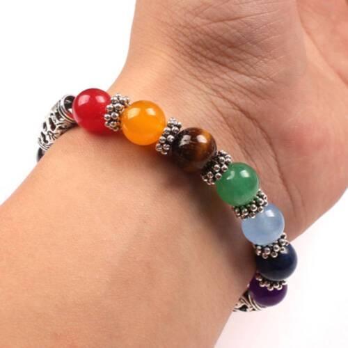 Natural Agate 7 Chakra Guérison De Perles Bracelet Diffuseur Bracelet Pendentif en forme de cœur