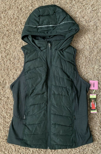 Tangerine Women/'s Olive Quilted Hoody Vest Jacket Full Zip Winter Outerwear NEW