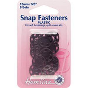 6 Sets 15mm Hemline H424.B Black Plastic Round Sew On Snap Fasteners