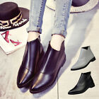New Ladies Women Chunky Leather Shoes Block Heel Platform Pumps Cusp Ankle Boots