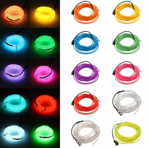 1//2//3//5M 12V Neon LED Light Glow EL Wire String Strip Rope Tube Car Dance Party