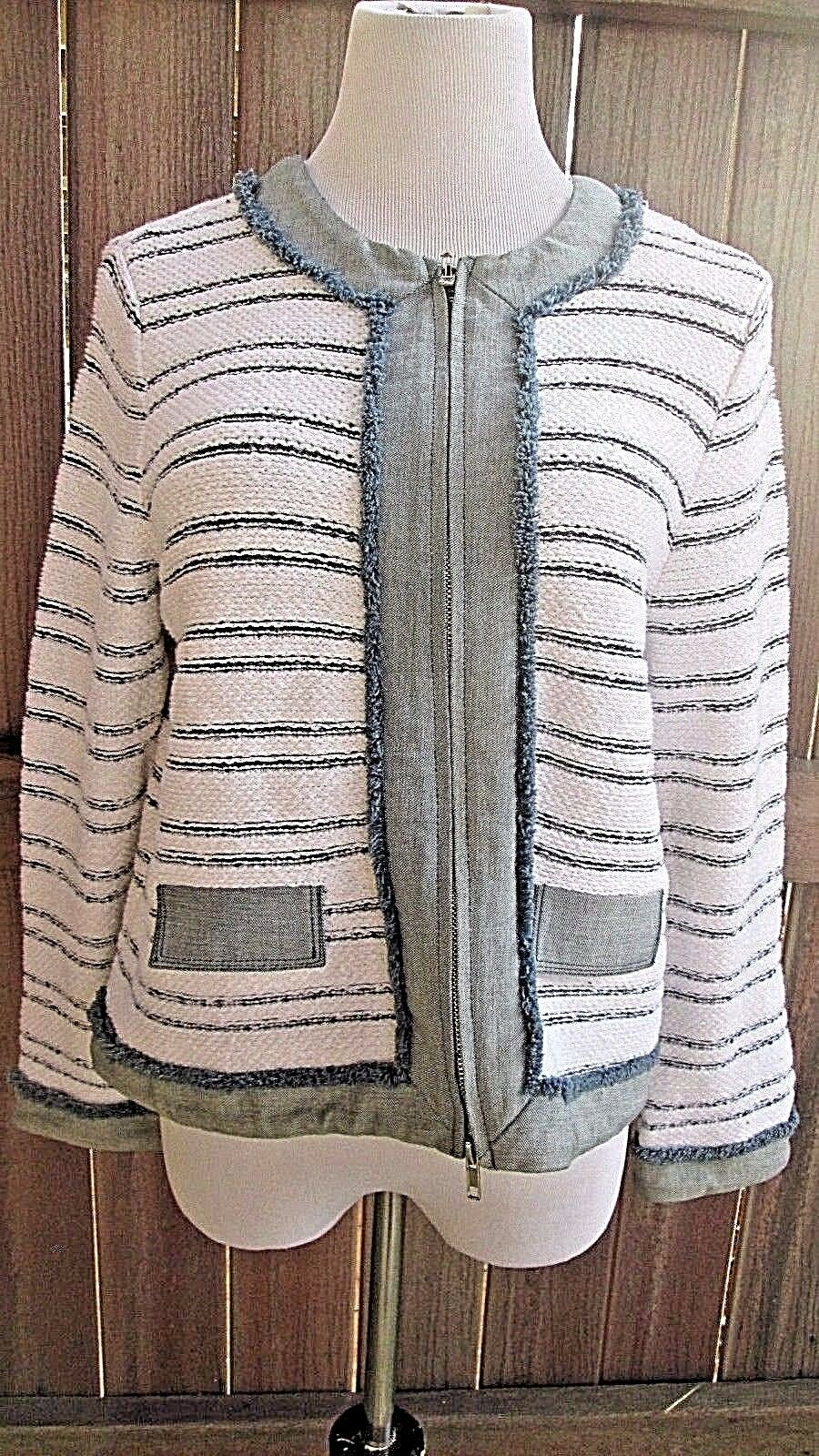 Curio Full Zip Front  Sweater Large  Cotton Blend Striped L