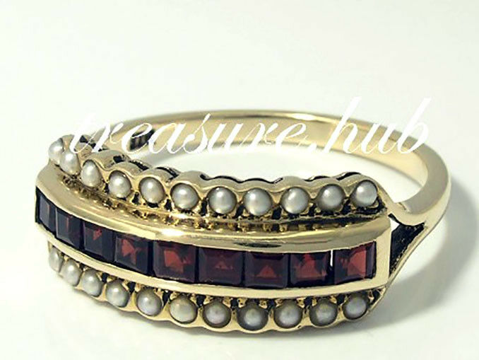 R281 Genuine 9K, 10K, 18K gold Natural Garnet & Pearl Eternity Ring in your size
