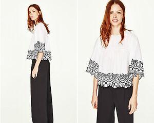 Zara White Basic Mit Black Popelin Bluse Stickerei Top Embroidered xxUBPqrw
