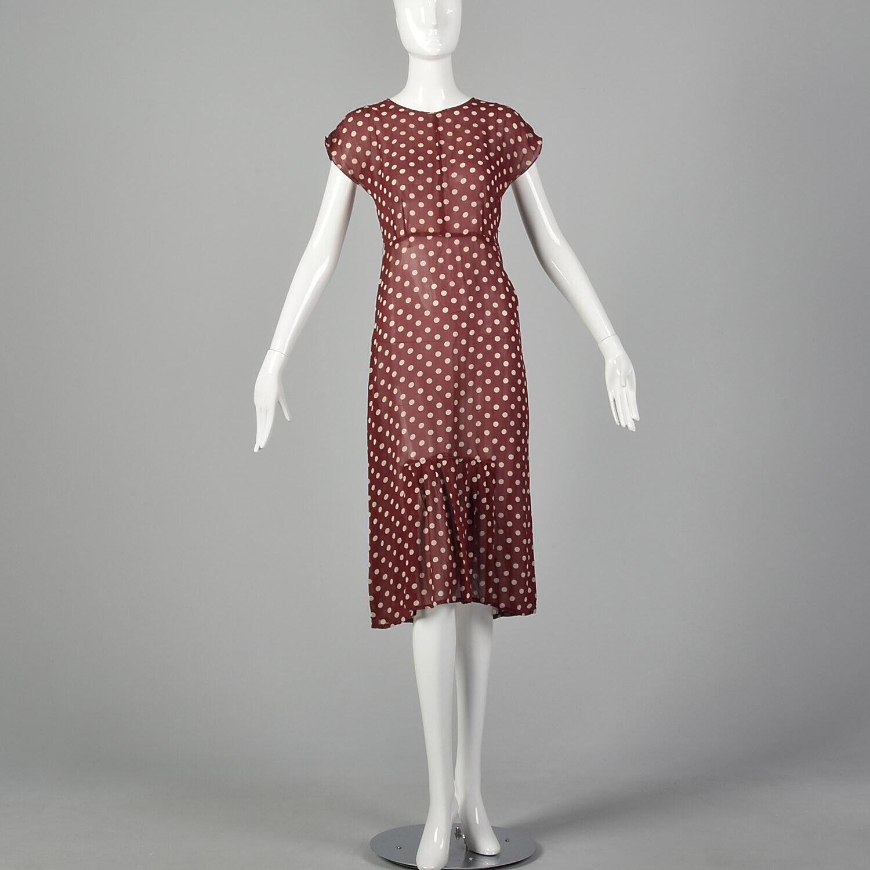 XXS 1930s Red Dress White Polka Dot Sheer Silk Ch… - image 4