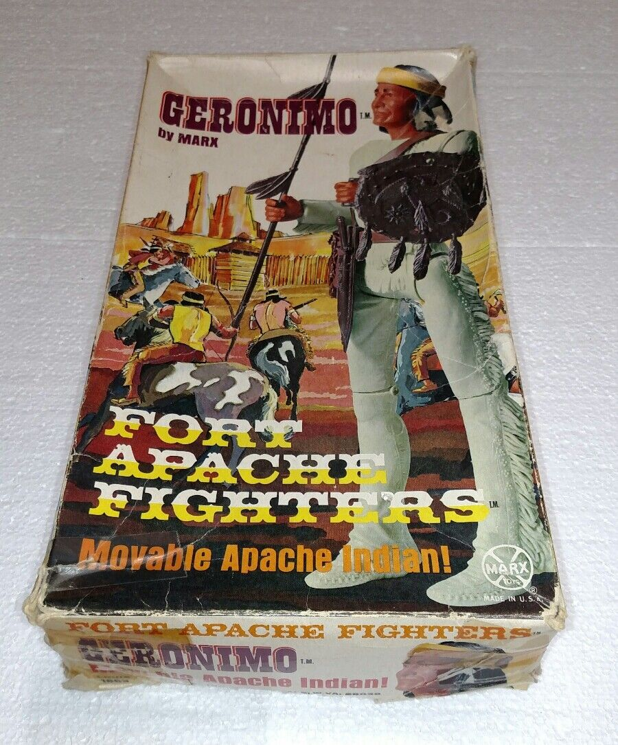 VINTAGE GERONIMO BY MARX MOVABLE APACHE INDIAN FORT APACHE FIGHTERS IN BOX