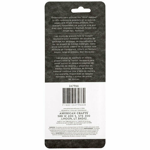 Moxy Embossing Pen 3pk Dries Clear American Crafts Medium, Broad and Brush