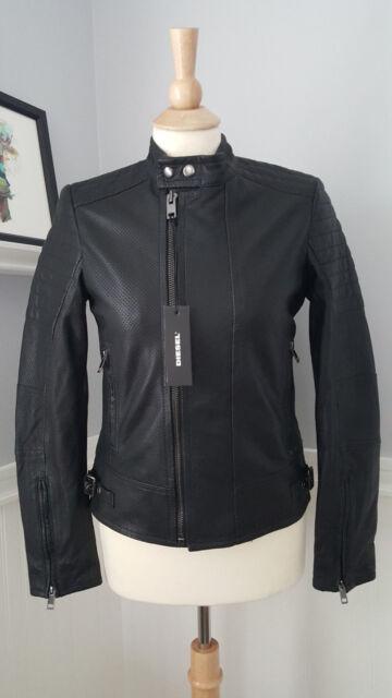 Diesel Lily Black Biker Perforated Genuine Leather Jacket Womens Xs