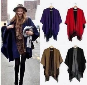 Details about New Women Lady Warm Wrap Shawl Cape Poncho Scarf Knit Tassel Home Reversible