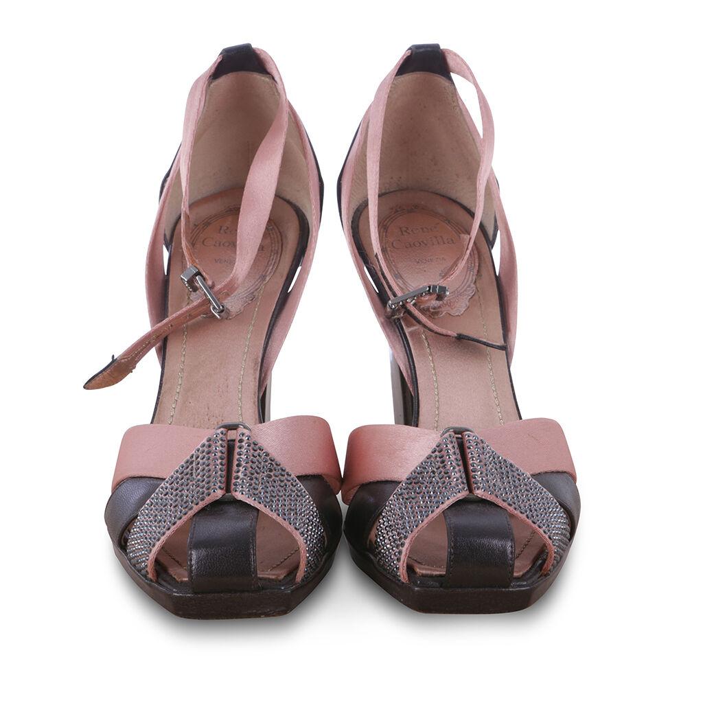 Rene Caovilla Swarovski Swarovski Swarovski Joyas Satén Bombas De Cuero Zapatos Talla 35 UK 2 nos 5  varios tamaños