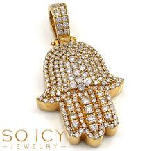2.50ct Mens 14k Yellow Real Solid Gold Hamsa Hand Diamond Pendant