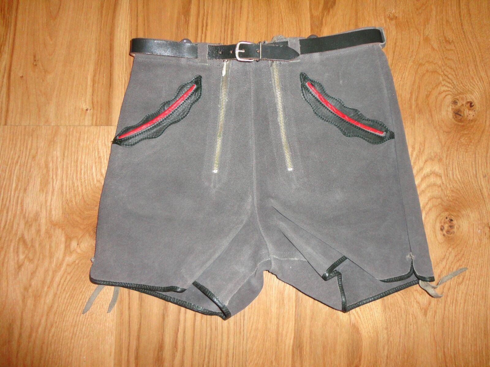 Vieille Court Pantalon Cuir de HAELSON Costume traditionnel vintage vermutl. 60er Ans-XXS - 2