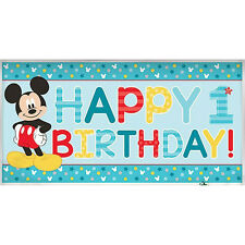 """65"""" Disney Mickey Mouse Fun One 1st Birthday Party Decoration Banner"""