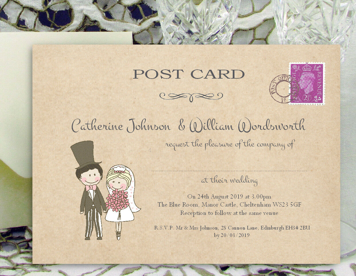 PERSONALISED WEDDING INVITATIONS 10x15cm Cute Couple Postcard Invite & Envelopes