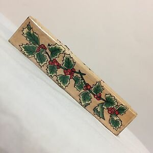 1995-Hero-Arts-Wood-Mounted-Rubber-Stamp-F208-Holly-Greenery-Border-Christmas