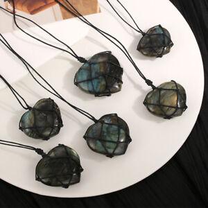 Naturstein-Anhaenger-Kristall-Mondstein-Herz-Labradorit-Halskette-Zeilenumbruch