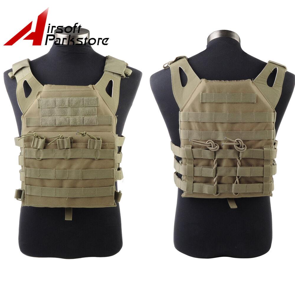 Tactical 1000D Molle Plate Carrier Vest Operator Military Paintball JPC Vest Tan